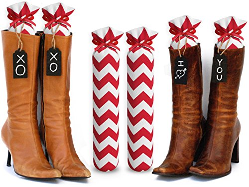 My Boot Trees, Boot Shaper Stands for Closet Organization. Many Patterns to Choose From. 1 Pair (Red and White Chevron). by My Boot Trees