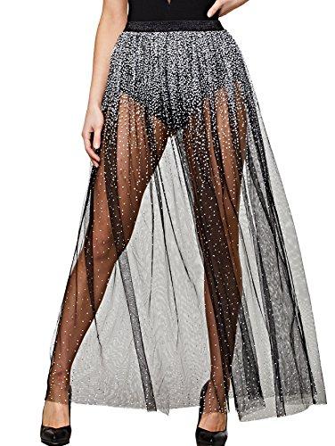 DIDK Women's Contrast Sequin Elastic Waist Mesh Skirt Black (Elastic Waist Mesh Skirt)