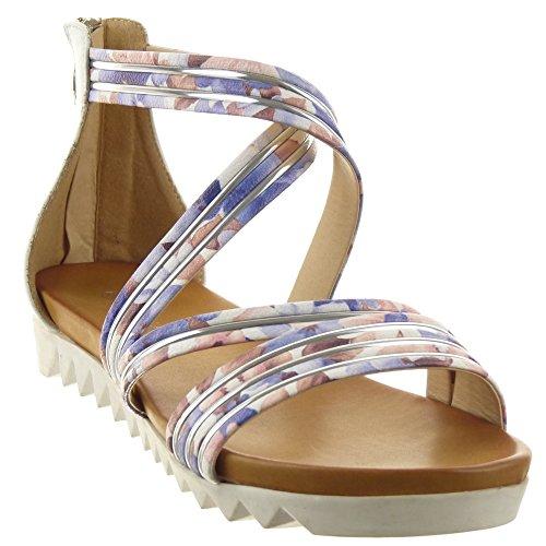 Sopily - Zapatillas de Moda Sandalias Abierto Zapatillas de plataforma Caña baja mujer multi-correa flores metálico Talón Plataforma 2 CM - Blanco