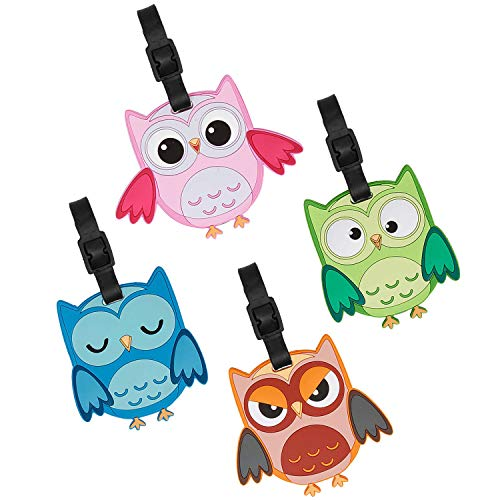 Bundle Monster 4pc Fun Mixed Owl Design Silicone Luggage ID Bag Tags - Set 5: What a -