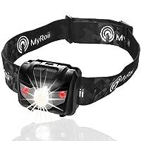 Brightest & Best LED Headlamp Flashlight Impressive 450 Ft. Beam   5 Light Modes & Red SOS Lightweight Waterproof Headlight for Running, Hiking, Hunting ,Fishing, Camping   BONUS 3 Batteries & Gift