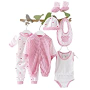 8pcs Newborn Baby Clothes Unisex Infant Outfits Layette Set with Stripe Dot(Red)
