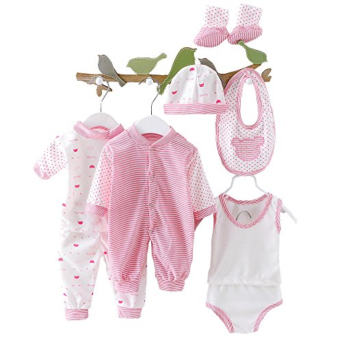 othes Unisex Infant Outfits Premie Layette Set With Stripe Dot(Red) (Red Layette)