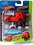 Snap Rides Team Hot Wheels RED Truck Custom Car Set - Create Build & Race
