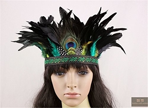 Scary Cown (Pavian Indian tribal chiefs exaggerated Green peacock feathers headdress headband for halloween party cosplay costume)