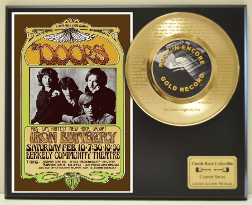 """Jim Morrison """"Light my fire"""" 24kt Gold 45 Record LTD Edition Display Laser Etched w/ Lyrics Only 500 made. Limited..."""