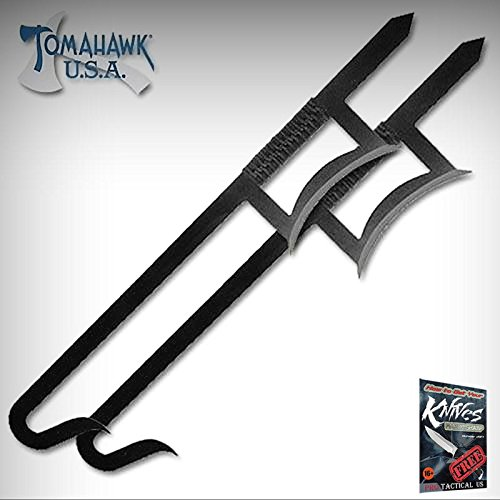 NEW! 2-piece FUNCTIONAL Black Chinese Hook Sword Set + free eBook by ProTactical'US ()