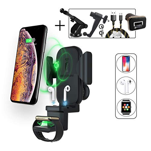 2BConnect 3 in 1 Wireless Car Charger Apple Watch charger iPhone Airpods Apple wireless Charging Pad,Qi wireless charger Apple Airpods charging station,Samsung Wireless Charger iPhone X/8/XS/XR/Xs Max (Core 3 Inch Mount)