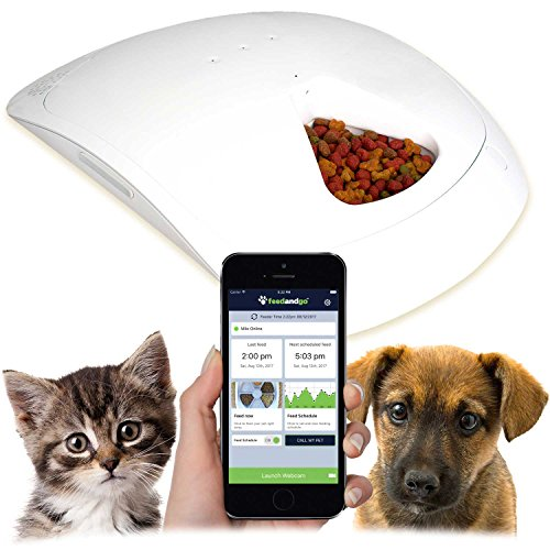 Dry Food Feeder (Feed and Go Smart Pet Feeder 2018 Model Now With iOS/Android Apps. Built In Webcam. For Wet/Dry Food, Treats & Meds.)