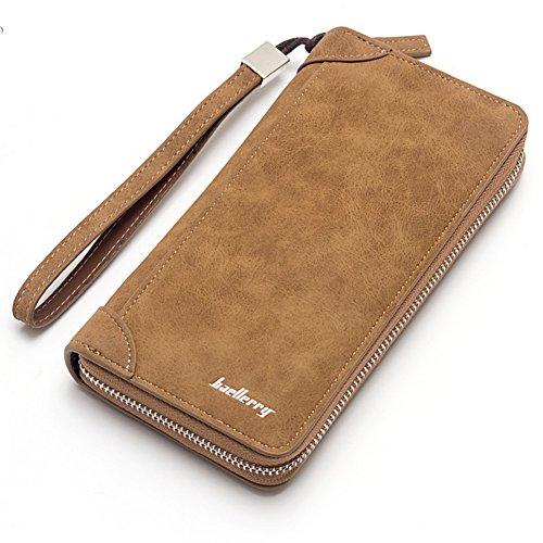 Gilroy - portafolios larga de piel sintética con cierre para tarjetas de crédito, diseño clásico, Camel, Talla única