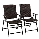 PHI VILLA Patio Rattan Folding Chair Indoor Outdoor Wicker Bistro Chair, 2 Pack