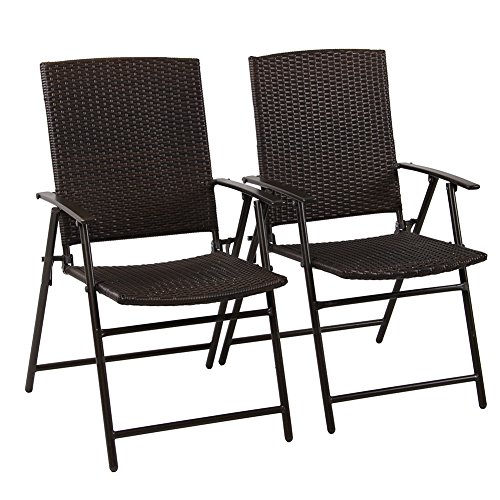 Patio Chair Cushions Umbrellas (PHI VILLA Patio Rattan Folding Chair Indoor Outdoor Wicker Bistro Chair, 2 Pack)