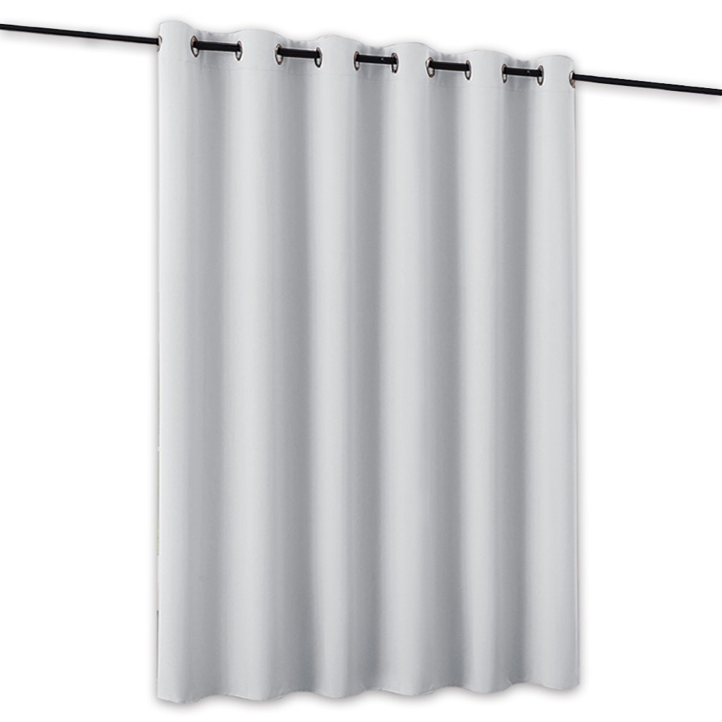 RYB HOME Blackout Blind Curtains Space Divider Adjustable Ceiling to Floor Blackout Curtain Drape for Dorm Decor/Doorway Curtain, Wide 8.3 ft x Long 7 ft, Grey, Single Panel USRYBLKRDIVIDER