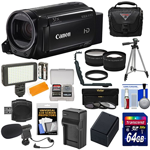 Canon Vixia HF R72 32GB Wi-Fi 1080p HD Video Camcorder + 64GB Card + Battery & Charger + Case + Tripod + LED Light + Microphone + Tele/Wide Lens Kit by Canon