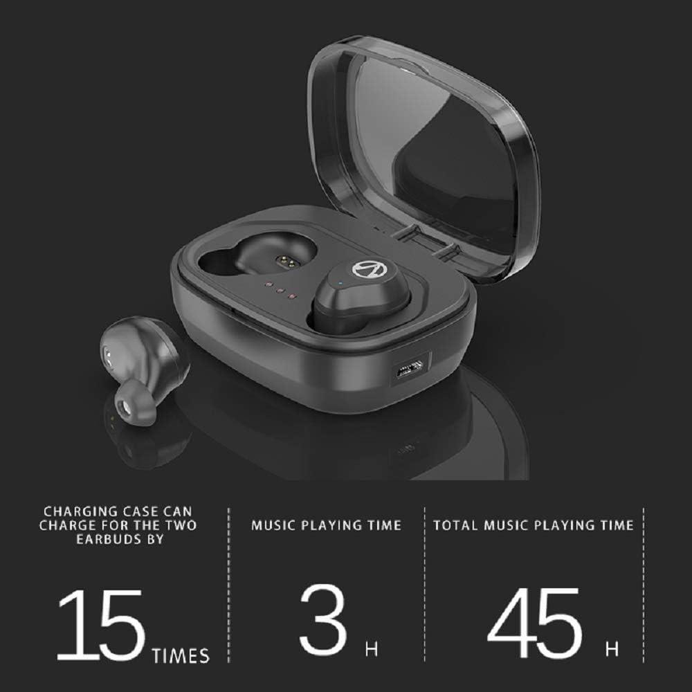 KTH Bluetooth 5.0 Draadloze Hoofdtelefoon, met IPX7 Waterdicht, Stereo Geluid Kwaliteit Oortelefoon Met Opladen Case TWS One-Click Headset, Rood Zwart