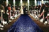 ShiDianYi Sequin Aisles Floor Runner-4FTX15FT Wedding Aisle Runner (Navy)