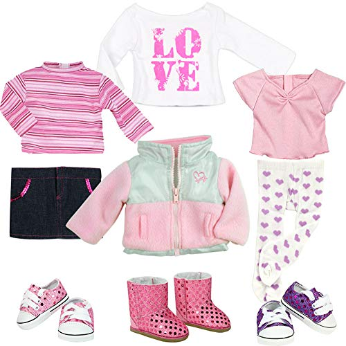 9 Piece Clothing Set Includes 3 Shirts, 3 Pair of Shoes, Fleece Jacket, Jean Skirt and Heart-Print ()