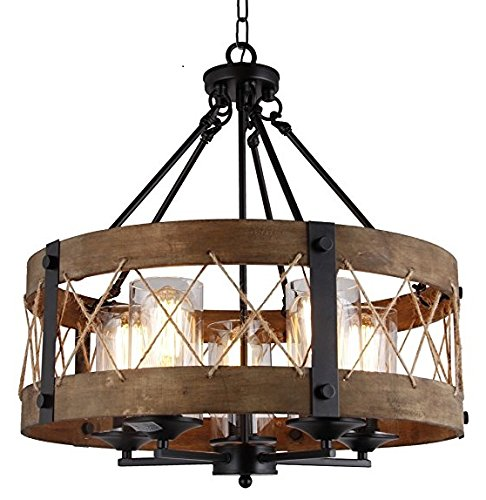 Wood Wooden Shade Ceiling Light Fixture Pendant Retro Industrial French Country Vintage Antique Chandelier Restaurant Bar Pendant Lamp Nostalgic Cafe (20