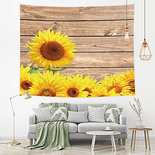 - NYMB Rustic Flower Tapestry Wall Art Hanging, Blooming Yellow Sunflower on Horizontal Striped Wooden Planks Wallpaper, Tapestry Wall Art for Bedroom Living Room Collage Dorm Nursery, 71''W X 60''H