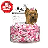 Aria Pretty In Pink Bows for Dogs, 48-Piece Canisters