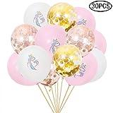 Gamtec 30PCS Unicorn Latex Balloons for Birthday Party Wedding Celebrations Gold Rose Golden Confetti Balloons Bullk Decroation (12 Inches)