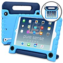 Apple iPad Mini 3 2 1 case, [NEW] PURE SENSE BUDDY Rugged Kids Shoulder Strap Anti Microbial Germ Bacteria Heavy Duty Children Drop Proof Toy Protective Cover Handle Stand Screen Protector (Blue)