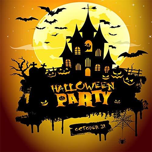 LFEEY 10x10ft October 31 Halloween Pumpkin Backdrop Horror Cemetery Jack-O-Lantern Flying Bat Creepy House Silhouette Photography Background Hallowmas Party Photo Studio Props]()