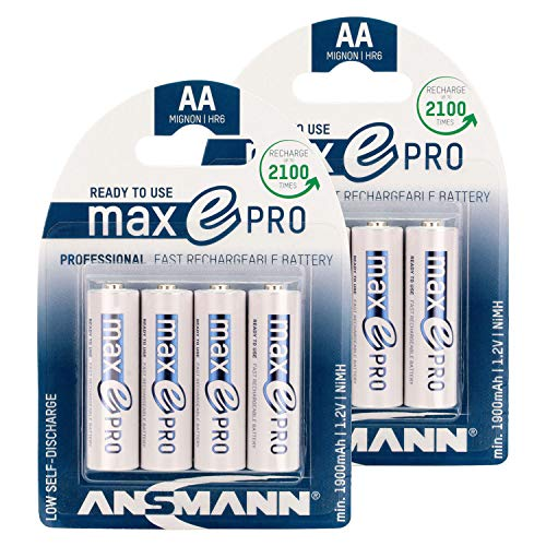 ANSMANN Rechargeable Batteries AA 2000 mAh NiMH - Low self-Discharge Double A Batteries pre-Charged for Camera, Flashlight, Controller, Gamepad, Solar Light, Apple Mouse, Wireless Keyboard - 8 Pack