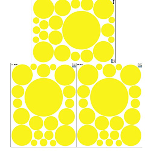 Create-A-Mural Polka Dot Wall Stickers, Wall Decor Stickers, Wall Dots, Vinyl Circle Room Dot Decals (Yellow)