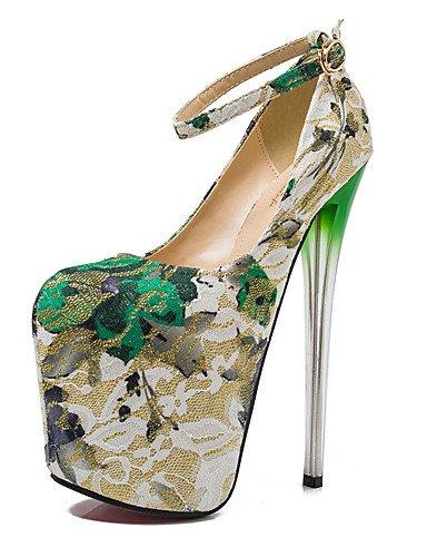 GGX/ Bombas de zapatos de mujer de 19 cm de altura del talón atractivo del talón del dedo del pie redondo de aguja zapatos de fiesta más , golden-us10.5 / eu42 / uk8.5 / cn43 , golden-us10.5 / eu42 / green-us8 / eu39 / uk6 / cn39