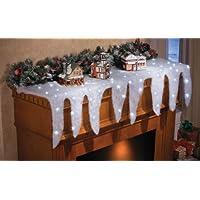 Colecciones Etc Snow y icicle Holiday Mantel Scarf - Chimenea decorada para Christmas Village
