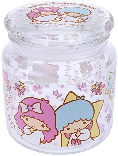 Little Twin Stars Transparent Glass Storage Jar Snacks Cookies Sugar Airtight Container 480 ml Kitchen Canister ()