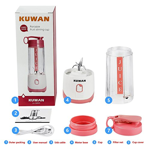 KUWAN Mini Electric Fruit Juicer Rechargeable portable Blender with USB Charging Cable install safety protection program by KUWAN (Image #3)