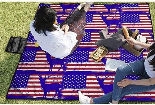 Suo Long Grande Coperta da Picnic all'aperto Cervi Bandiera USA Caccia patriottica Sabbia Antiscivolo stuoia da Spiaggia Tote per Campeggio Escursionismo Erba in Viaggio
