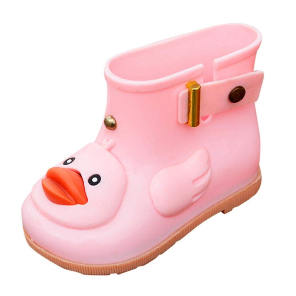 HLHN Baby Boys Girls Rainboots, Toddler Wellies Kids Cartoon Duck Rubber Waterproof Rain Shoes Children Infant