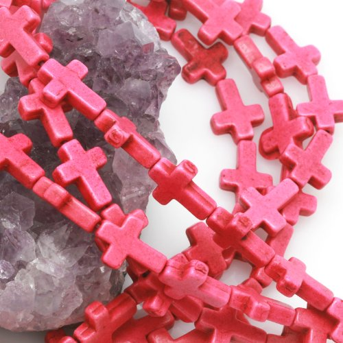 Cross Spacer - Howlite Turquoise Beads Loose Cross Spacer 12x16mm 25 pcs Hot Pink