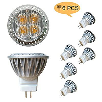 Alide 3W MR11 GU4 Led Bulb Light,Replace 35W Halogen Equivalent,Not Dimmable,12VAC/DC,35mm,3000K Warm White,240lm,80Ra,30° Aluminum Bi pin Spotlight for Indoor Decor Outdoor Landscape Lighting, 6pcs