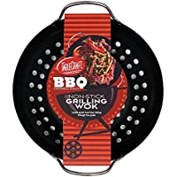 TableCraft BBQ13 BBQ Metal Handle 13-Inch Non Stick Coating Round Grilling Wok, Small, Black