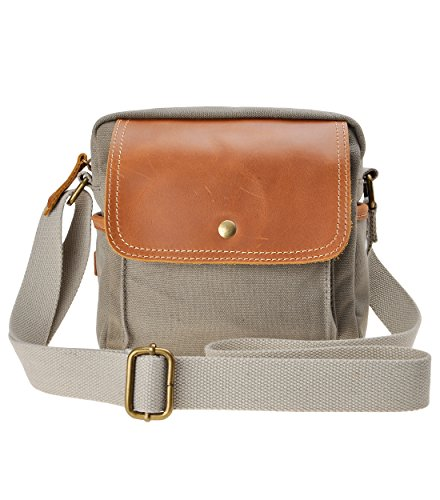 Canvas Camera Bag ZLYC Small DSLR Case Leather Trim Pouch Padded Insert Purse Vintage Shoulder Messenger Satchel for Women Men, Gray