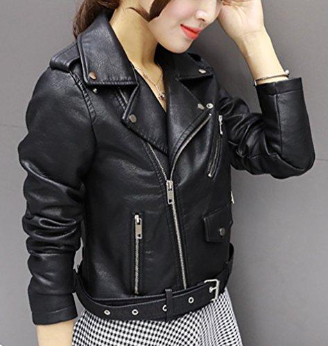 Fitted Faux Motorcycle Jacket Black Slim Coat Punk Leather Long Cropped Yasong PU Biker Women Sleeve pwqUHUEg