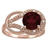 Garnet and Diamond Love Knot Ring in 10K Rose Gold