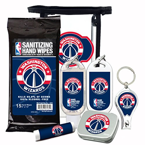 Washington Wizards 6-Piece Fan Kit with Decorative Mint Tin, Nail Clippers, Hand Sanitizer, SPF 15 Lip Balm, Hand Lotion, Sanitizer Wipes. NBA Gifts for Men and Women By Worthy