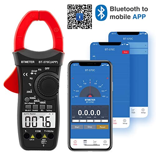 BTMETER BT-570CAPP Digital Clamp Meter Multimeter, Auto-Ranging Bluetooth Amp Meter for AC&DC Current Amperage Voltage Resistance Temp Electrical Tester with Backlit Continuity Amp Ac Current Clamp