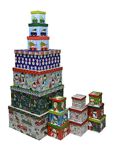 Christmas Boxes, 16 Count Nested, Assorted Large Set with Ma