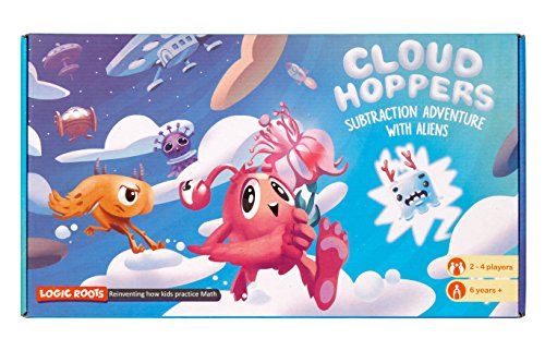 CLOUD HOPPER Addition Subtraction STEM game – Alien chase adventure – Fun learning toy for ages 6 and up – Aligned to Singapore math – With 10 faced math dice