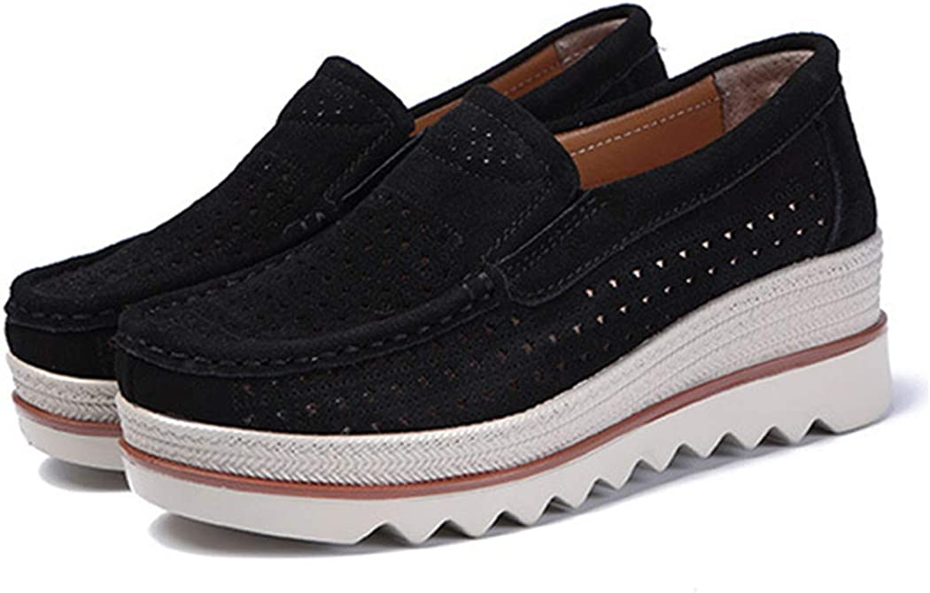 New Moccasin Womens Flats Suede Genuine Leather Shoes Platform Woman Moccasins Black 6.5M US