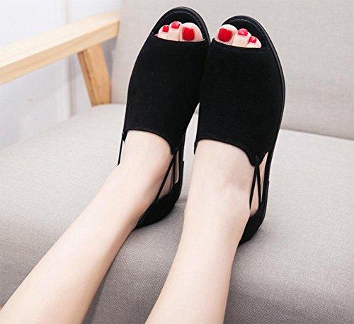 Low-Sandaletten weiblichen Studenten flache Schuhe mit flachen Sandalen und Pantoffeln weiblichen Sommer Sandalen und Pantoffeln black