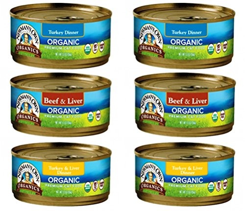 Newman's Own Organic Cat Food 3 Flavor 6 Can Bundle, 2 each: