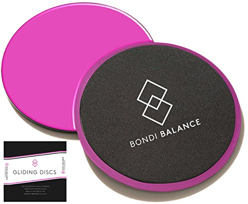 - Bondi Balance Sliders Fitness Discs Hot Pink - Dual Sided Strength Slides Exercise Sliders for both Carpet and Hard Floors - Bonus Core and Glute Workout Ebook - Train Anywhere Anytime
