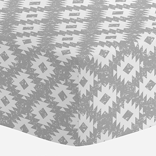 (Carousel Designs Silver Gray and White Aztec Crib Sheet - Organic 100% Cotton Fitted Crib Sheet - Made in The USA)